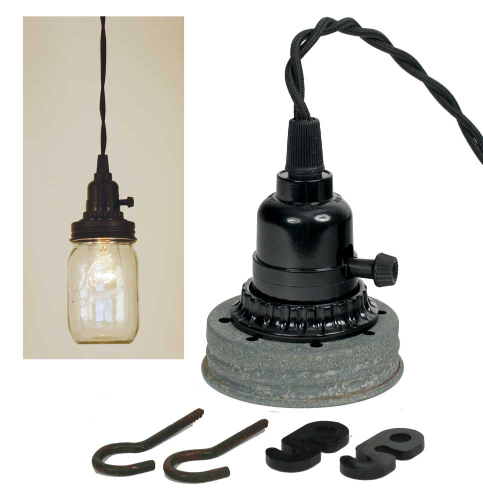 Mason Jar Pendant Lamp Kit - Barn Roof - UNQFurniture