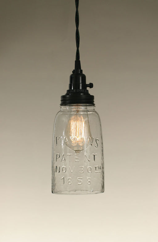 Half Gallon Open Bottom Mason Jar Pendant Lamp - Clear Glass - UNQFurniture