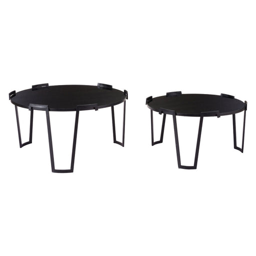 Set Of 2 Nesting Coffee Tables Black