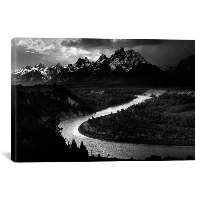 The Tetons - Snake River by Ansel Adams Canvas Print - UNQFurniture