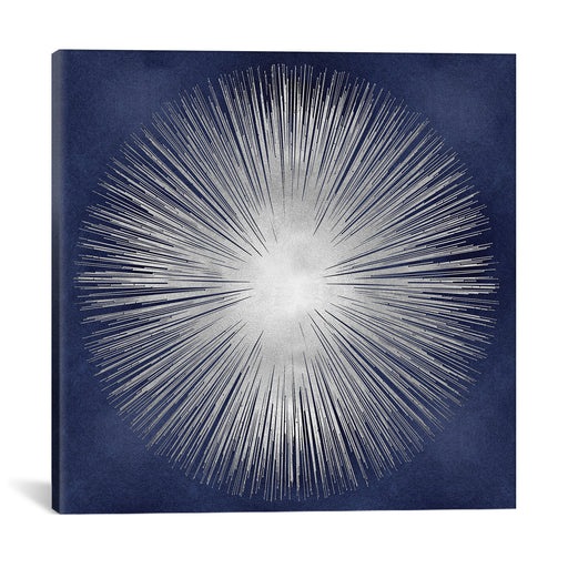 Silver Sunburst On Blue I by Abby Young Canvas Print - UNQFurniture