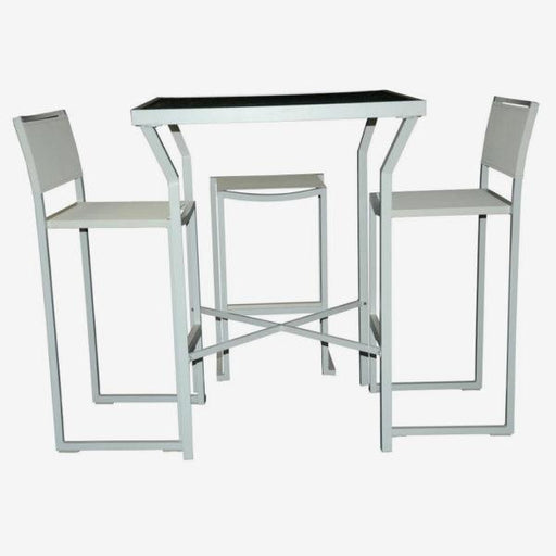 Feruci - Aruba Bar Table w/ Tempered Glass and Bar Stool Chairs - UNQFurniture