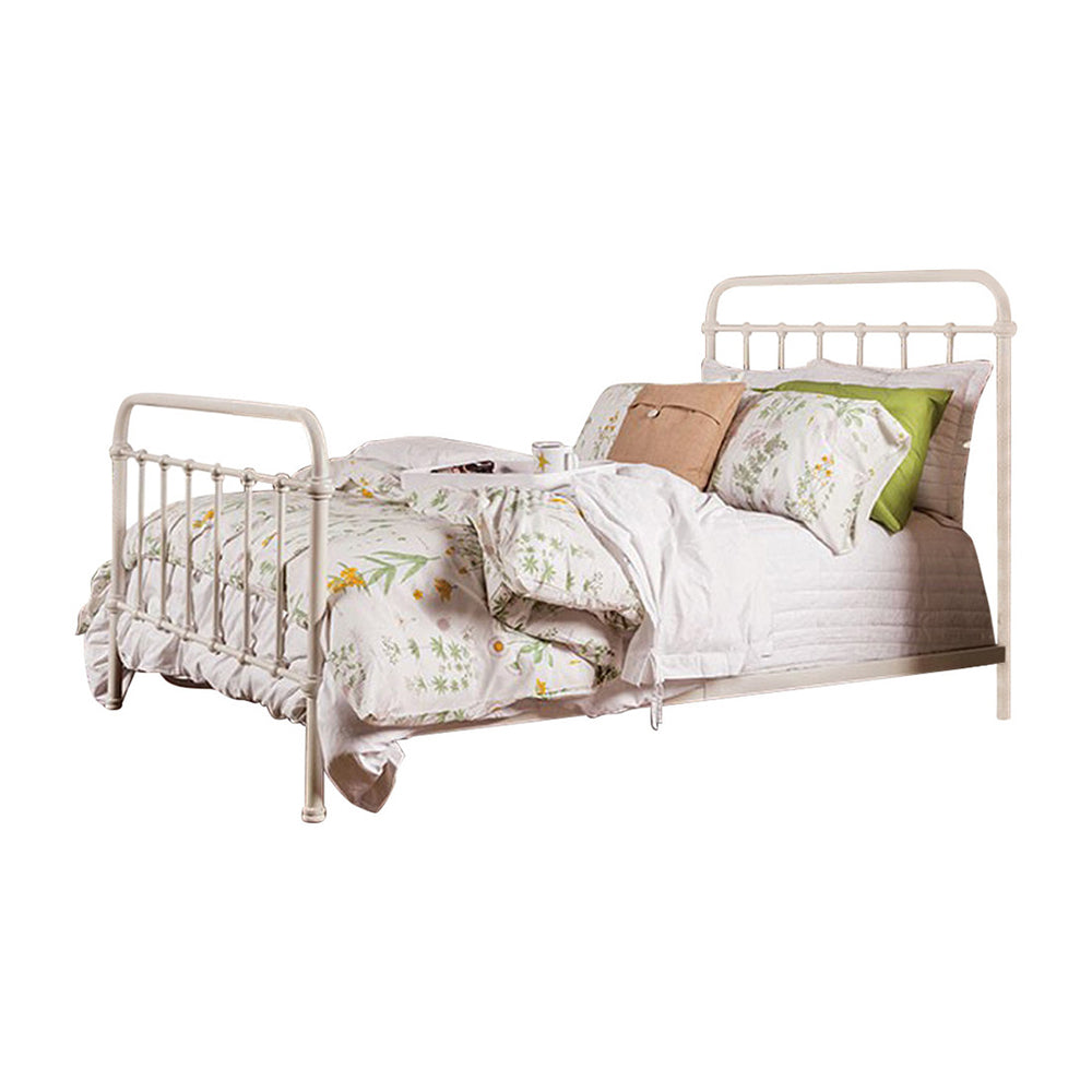 Sophisticated Metal Queen Bed, White