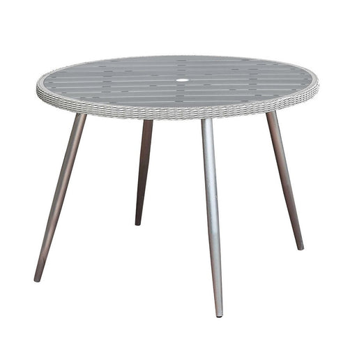 Shivani Contemporary Round Patio Table , Silver