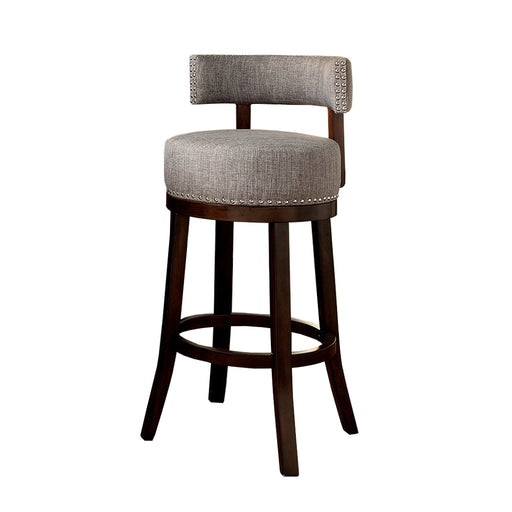 "Lynsey 24""Barstool Withlinen Cushion, Light Gray Finish, Set Of 2"