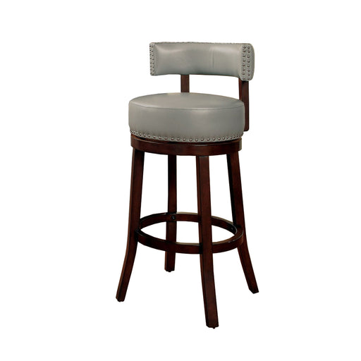"Shirley 29"" Barstool Withpu Cushion, Gray Finish, Set Of 2"