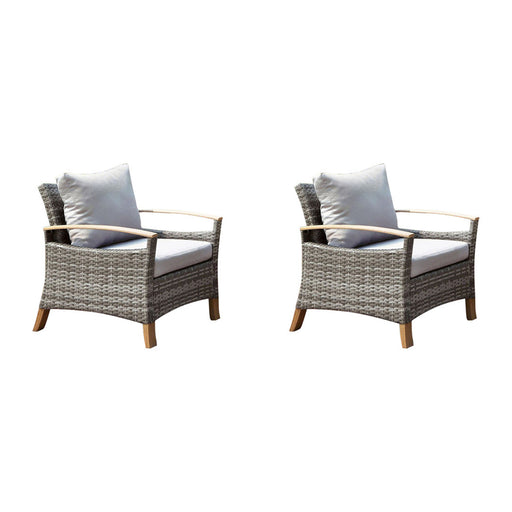 Monica Contemporary Patio Chair, Gray And Oak, Set Of 2