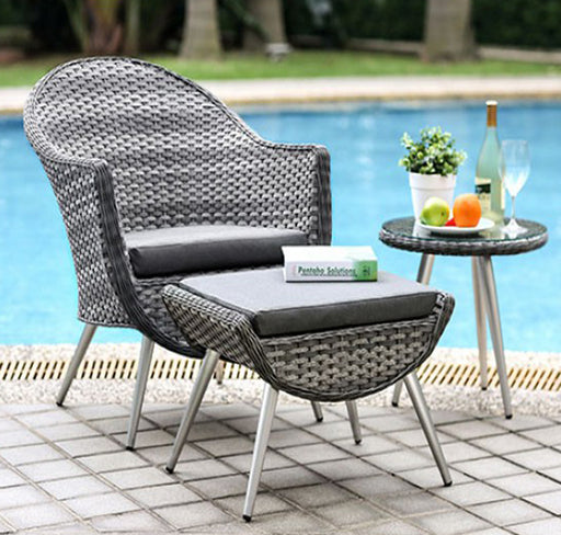 Leena Transitional 3 Piece Patio Set ,Gray