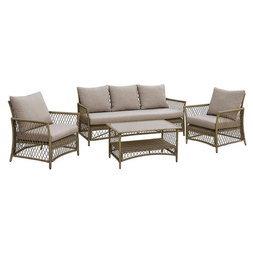 Jacquelyn Contemporary Patio Seating, Set Of 4, Light Gray