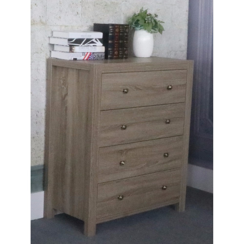 Commodious Brown Finish 4 Drawers Chest With Brass Knob.