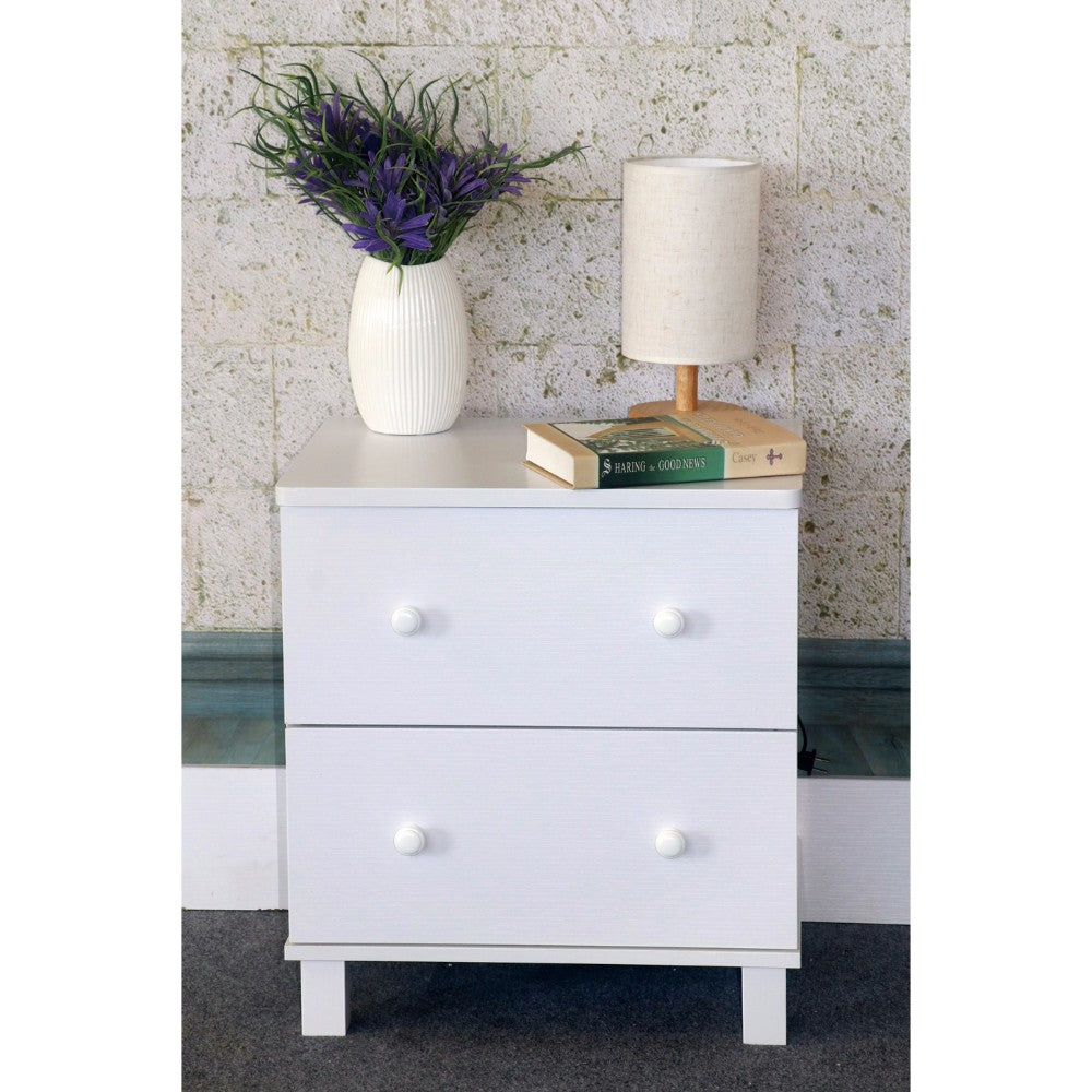 Urbane White Finish Nightstand With 2 Drawers On Metal Glides.