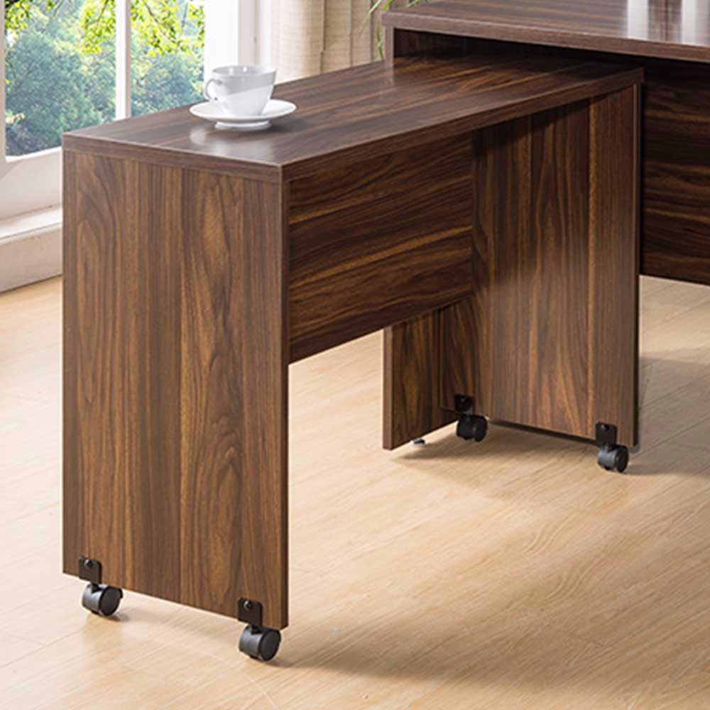 Modern Style Return Table With Wheels, Brown