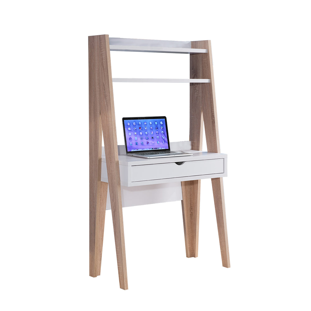 Huge Adorning Computer Desk With Drawer, Light Brown and White