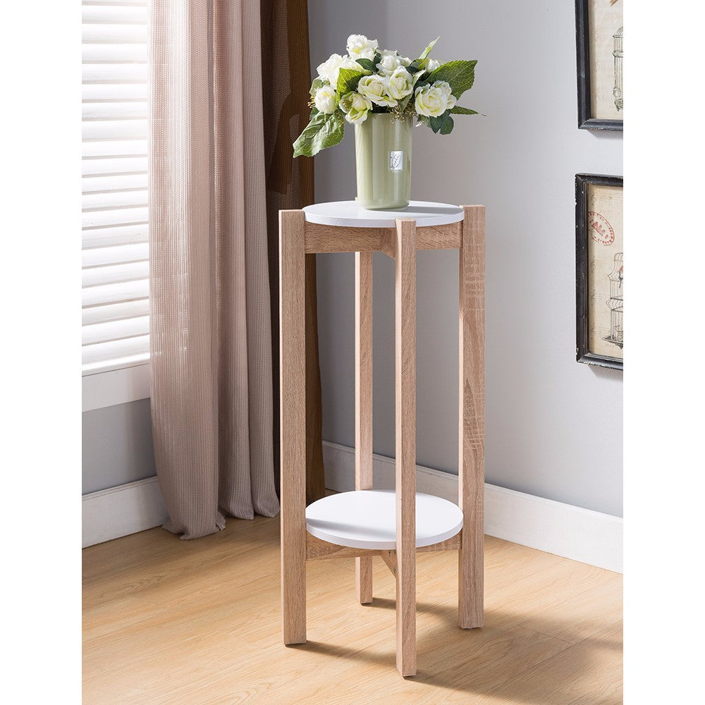 Natural Wood Plant Stand With Two Round Shelves, Light Brown and white