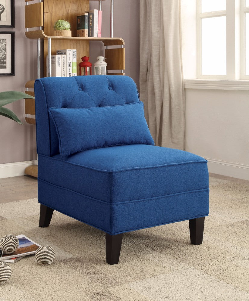 Susanna Accent Chair With Pillow, Dark Blue Linen