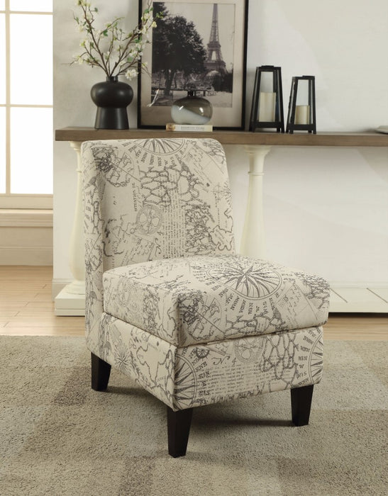 Ollano II Accent Chair With Storage, Pattern Fabric, Cream and Gray