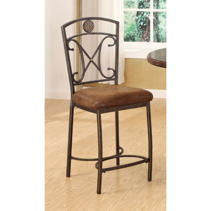 Tavio Counter Height Chair, Fabric & Antique Bronze, Set of 2