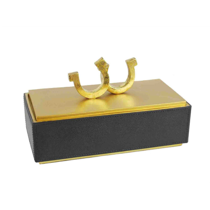 Rectangular Polyresin Horseshoe Box, Black & Gold