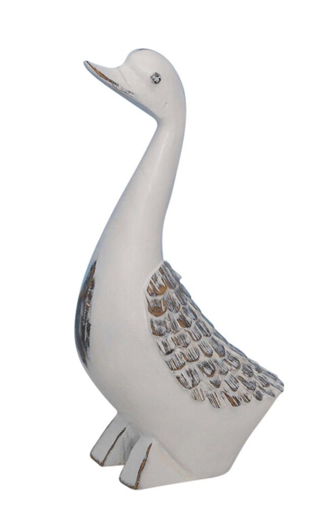 Modern Art Accented decorative Resin Duck Figurine, White