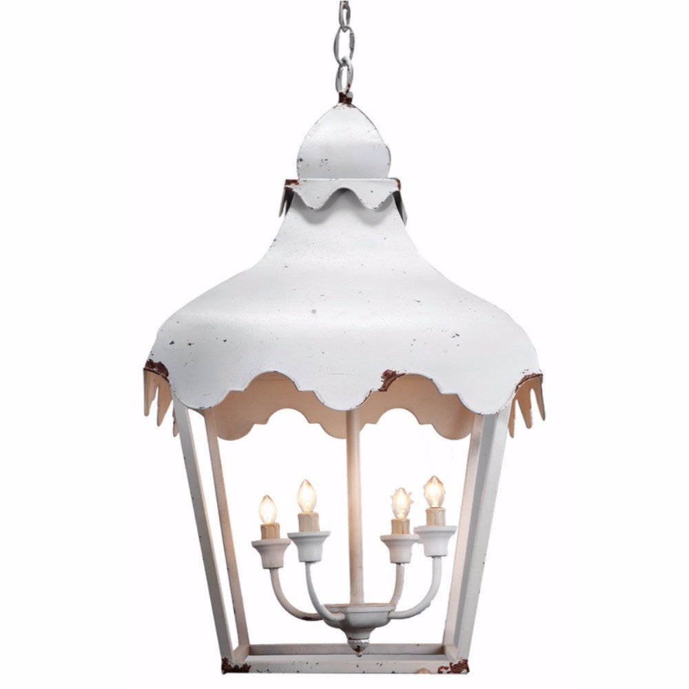 Vintage Style Four Light Metal Chandelier with Rustic Accents, White