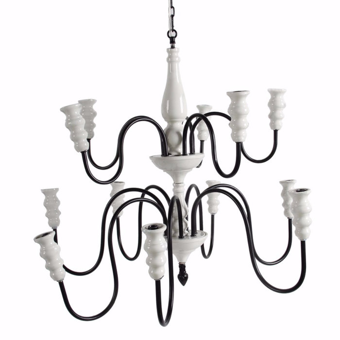 Glorifying Ceramic and Metal 12-Arm Chandelier, Black and White