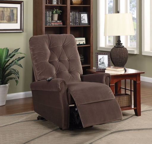 Zody Recliner With Power Lift, Chocolate Velvet Brown