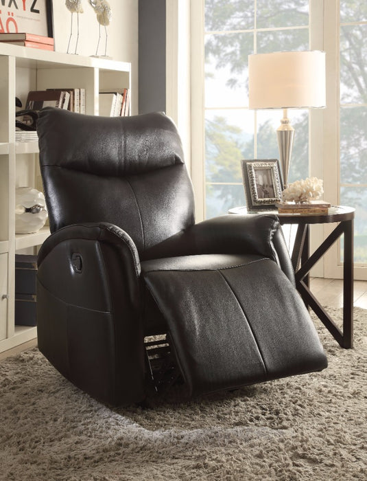 Riso Rocker Recliner, Black Leather-Aire