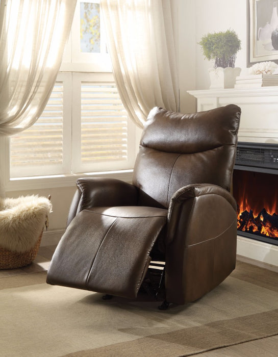 Riso Rocker Recliner, Brown Leather-Aire
