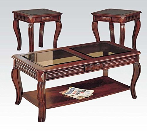 Overture Coffee & End Table Set, Cherry Brown, Pack of 3 Pieces