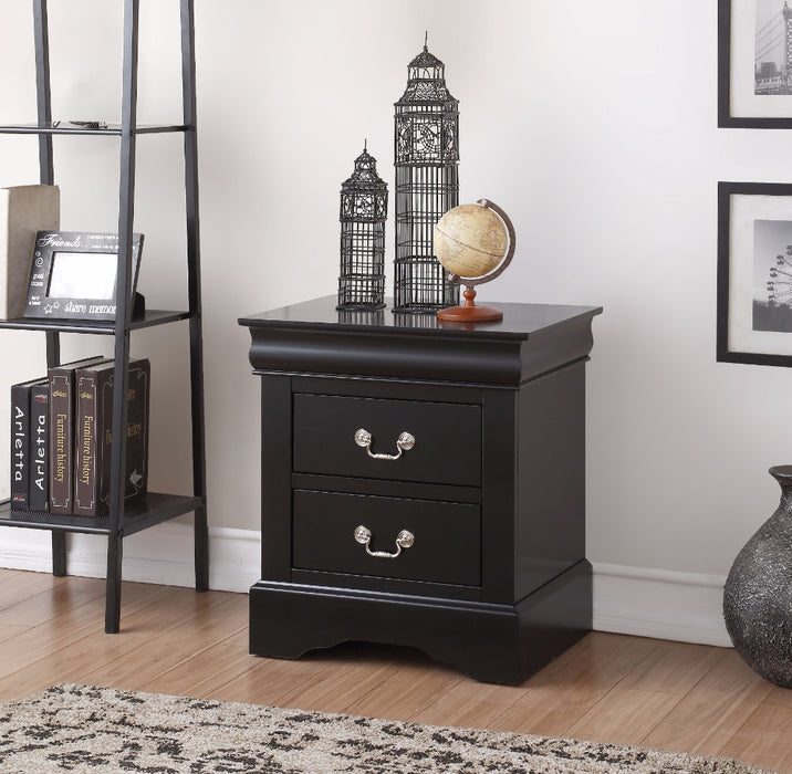 Traditional 2 Drawers wood Nightstand By Louis Philippe III, Black