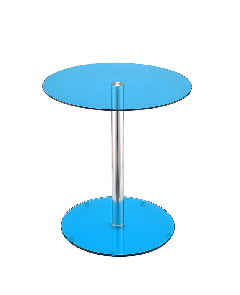 Halley End Table, Blue Glass & Chrome