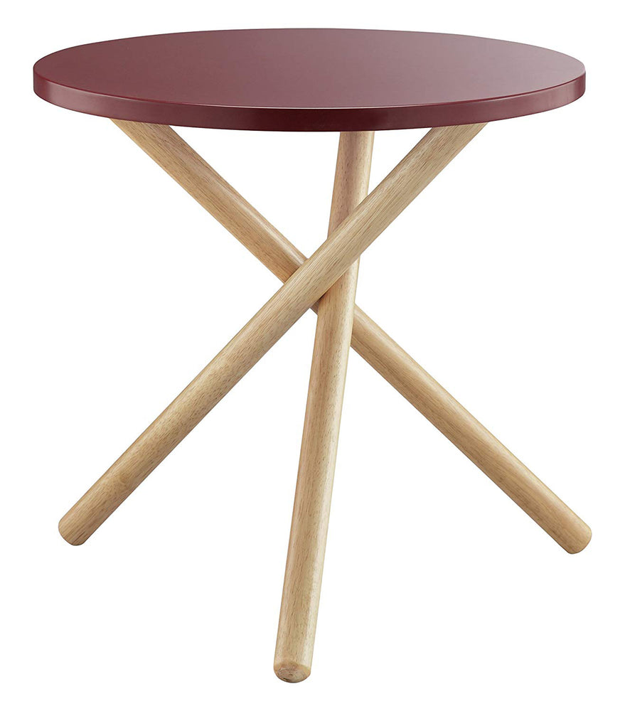 Lanica End Table, Red & Natural
