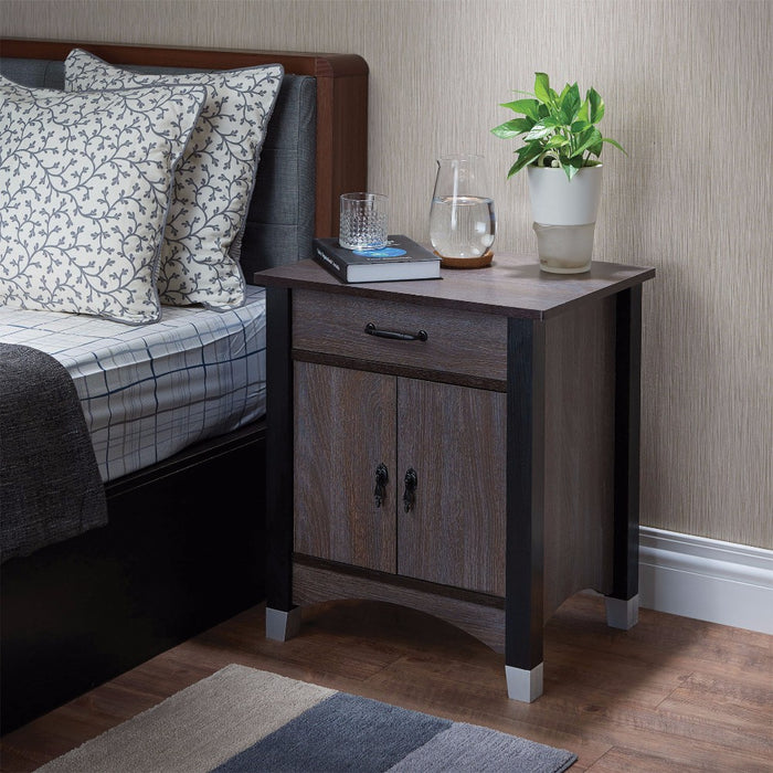 Rectangular One Drawer Wood Nightstand By Calp, Grey & Brown