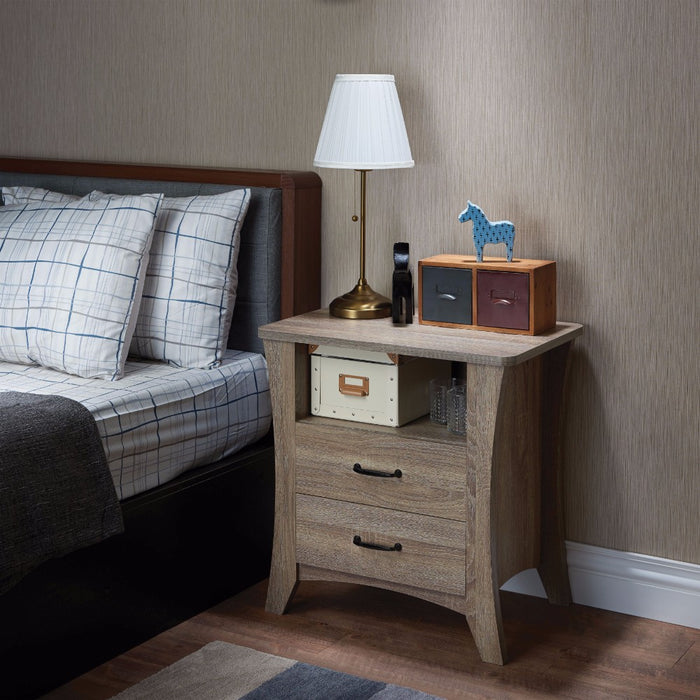 Contemporary Style 2 Drawers Wood Nightstand By Colt, Brown