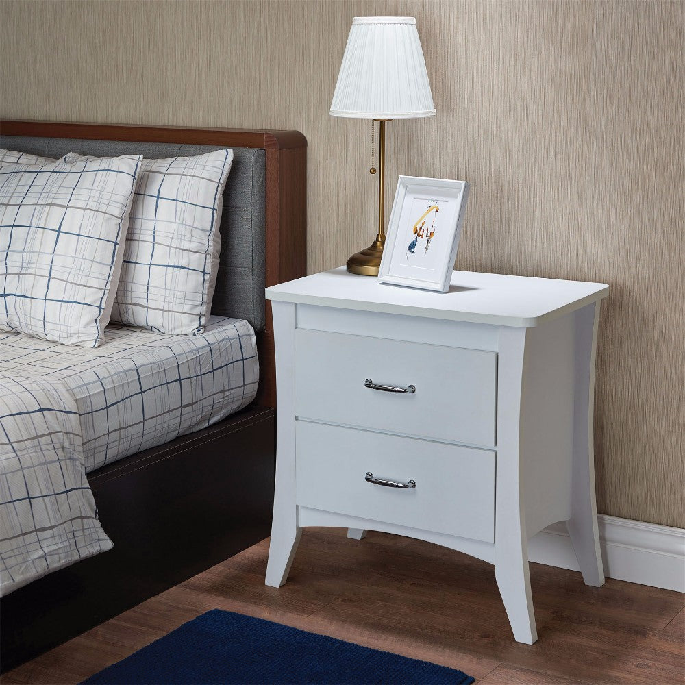 Contemporary Style 2 Drawers Wood  Nightstand By Babb, White