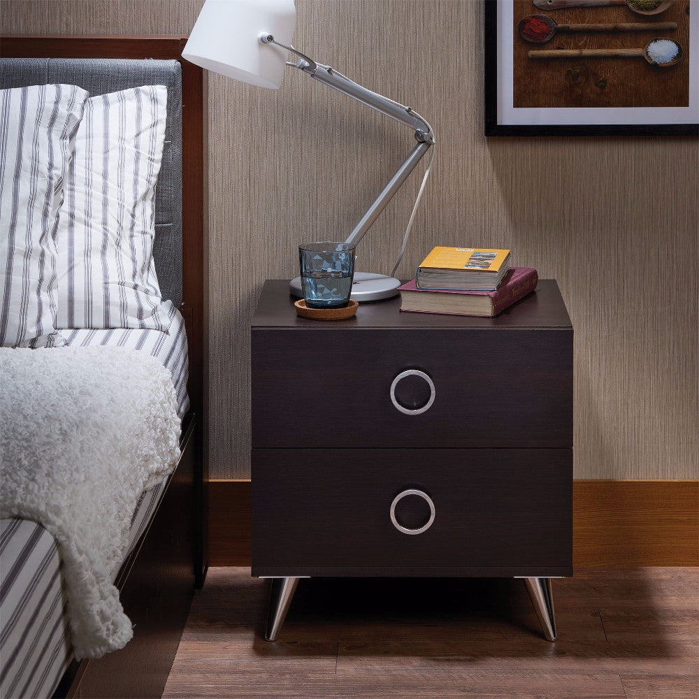 Rectangular Wood & Metal Nightstand By Elms, Brown & Chrome