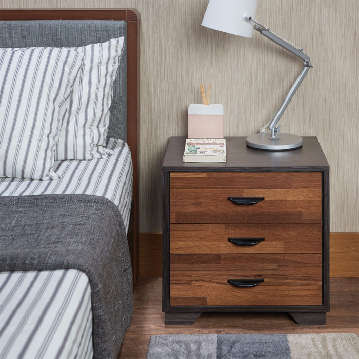 Rectangular 3 Drawers Wood Nightstand By Eloy, Brown