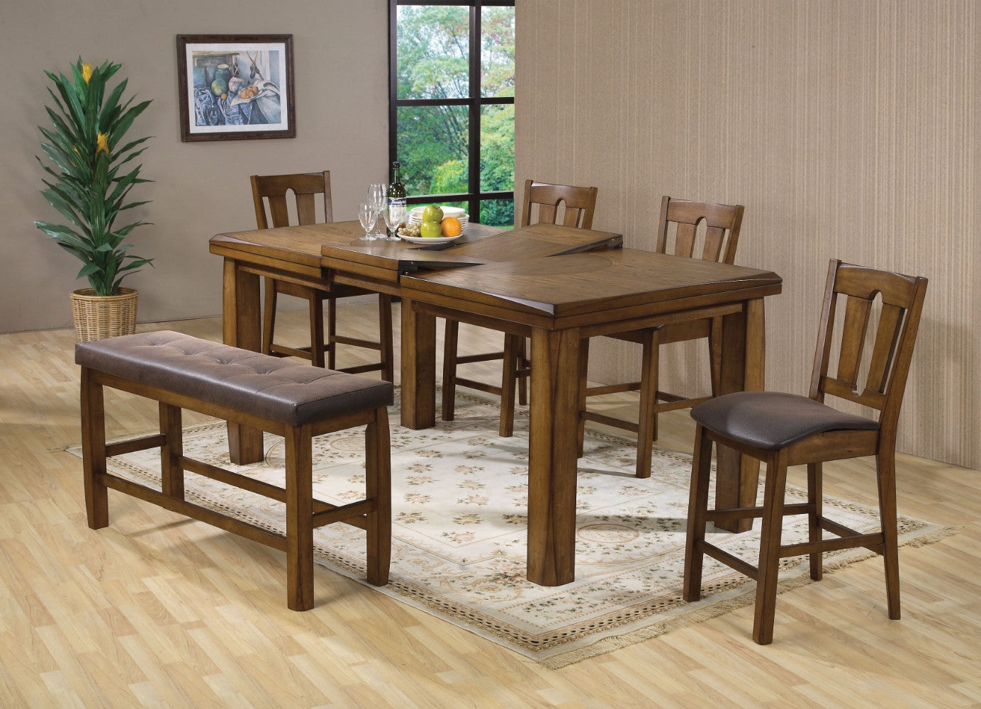 Morrison Counter Height Table , Oak Brown