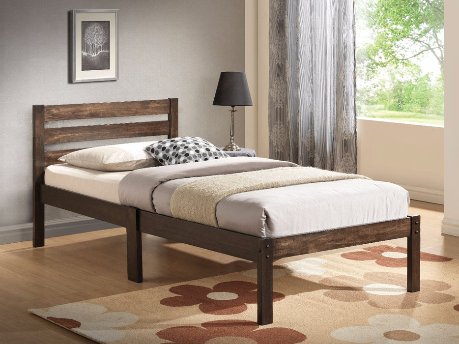 Simply Design Twin Bed With Wooden Slatted Headboard, Brown
