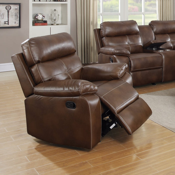 Exuberantly Designed Brown Leatherette Recliner