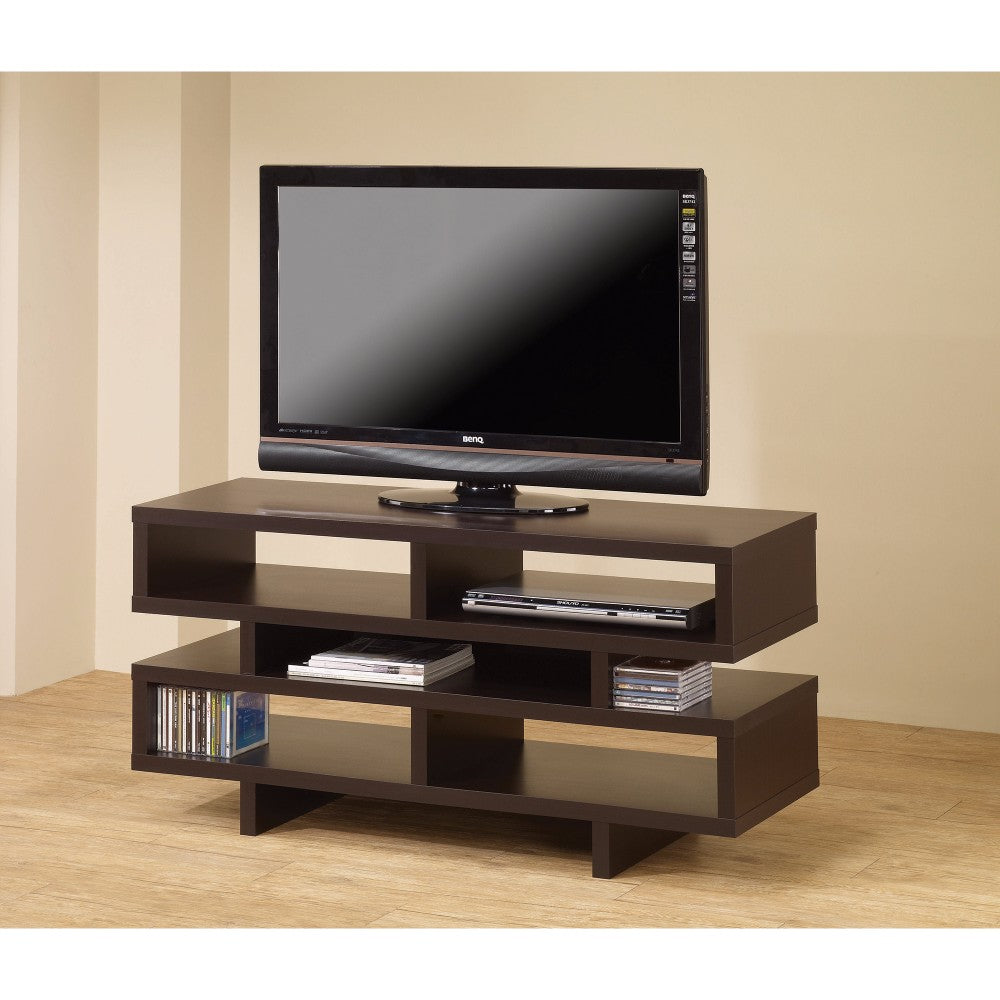 Contemporary TV Console with Open Storage, Brown