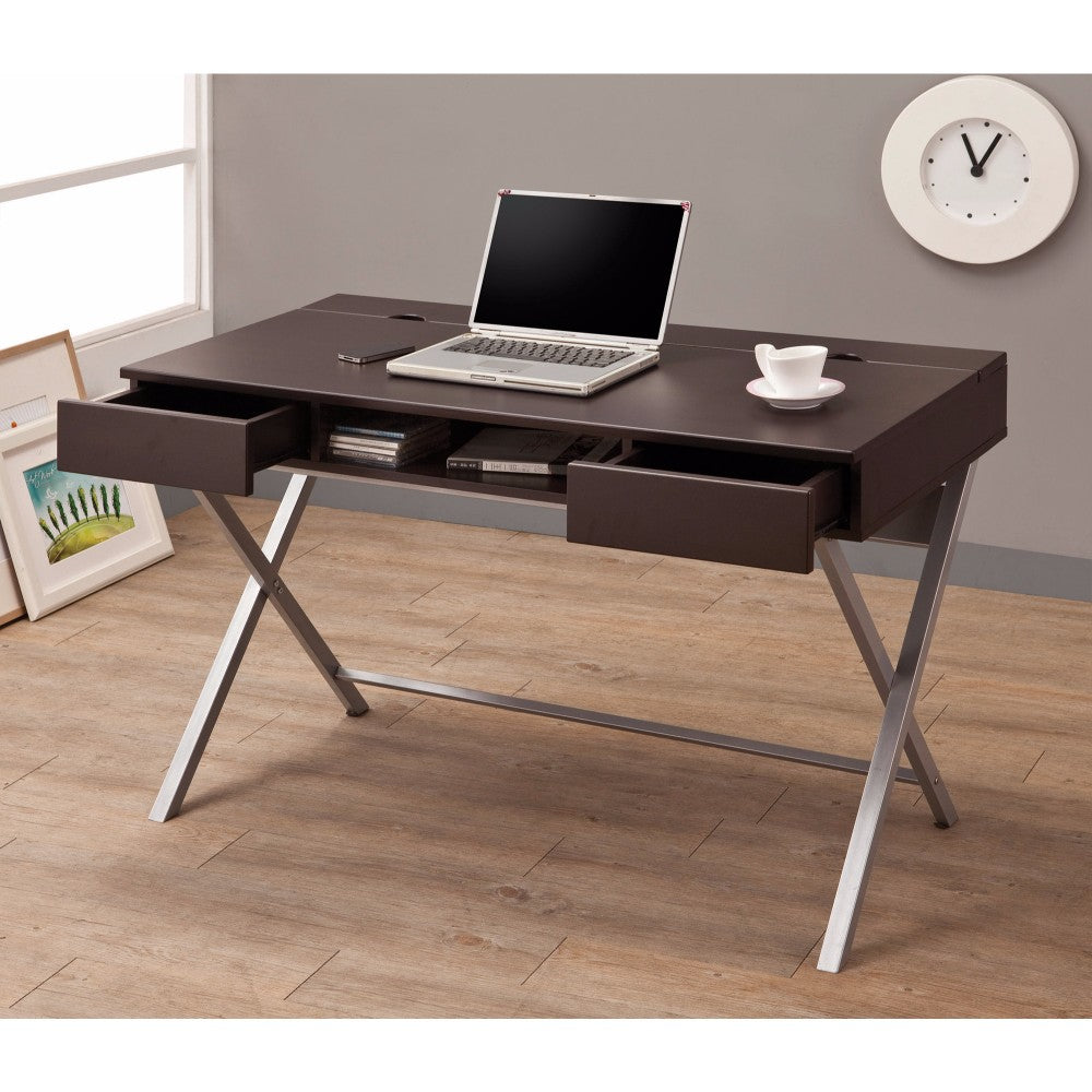 Stylish Connect-It Desk with Built-in Storage Compartment, Brown