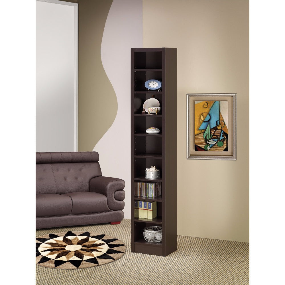 Glimmering Brown Narrow Wooden bookcase