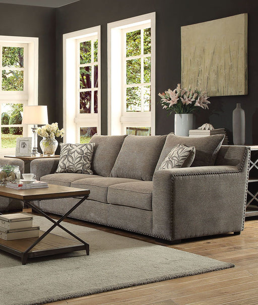 Vogue Gray Chenille Sofa with 2 Pillows