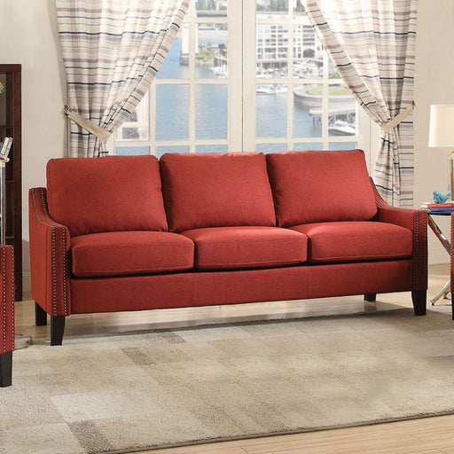 Wooden Frame Sofa In Red Linen Fabric