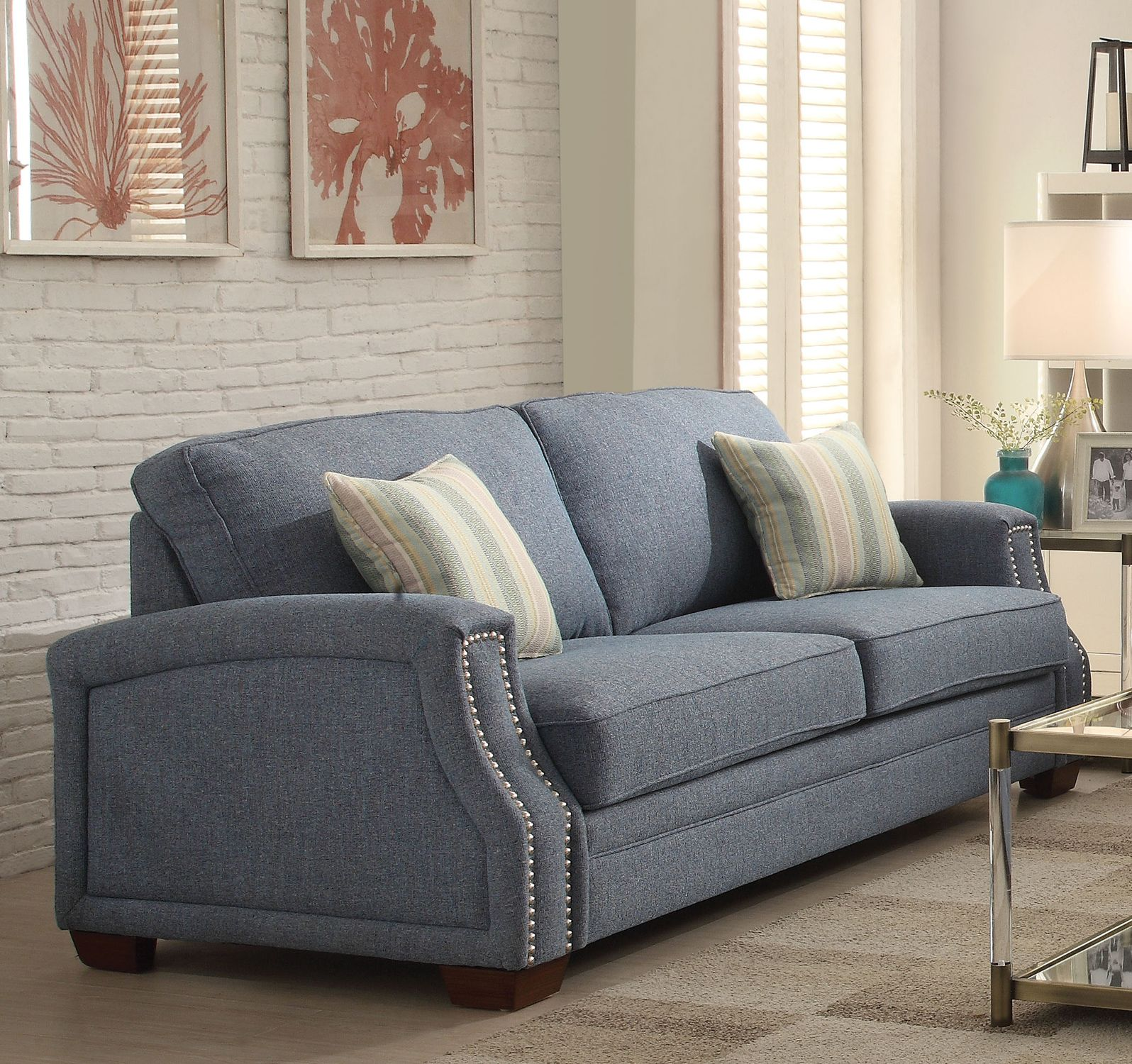Spruce Sofa with 2 Pillows, Light Blue