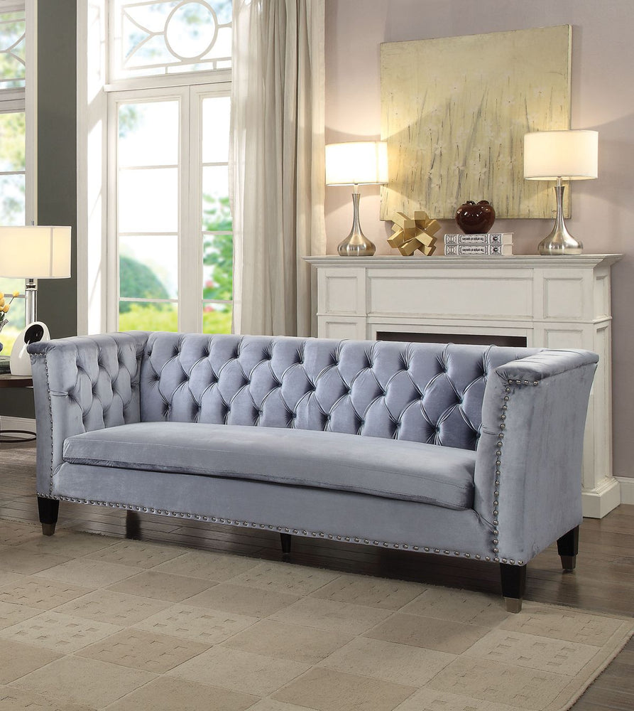 Imperial Looking Sofa, Blue-Gray Velvet