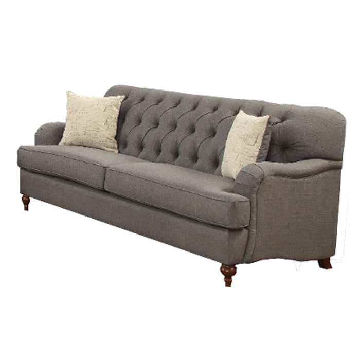 Upholstered Gray Fabric Sofa with 2 Pillows