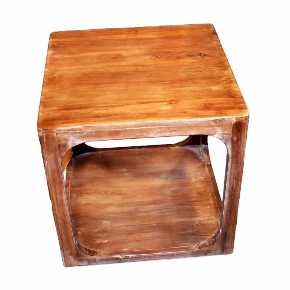 Sturdy Antique Style Wooden Side Table, Brown