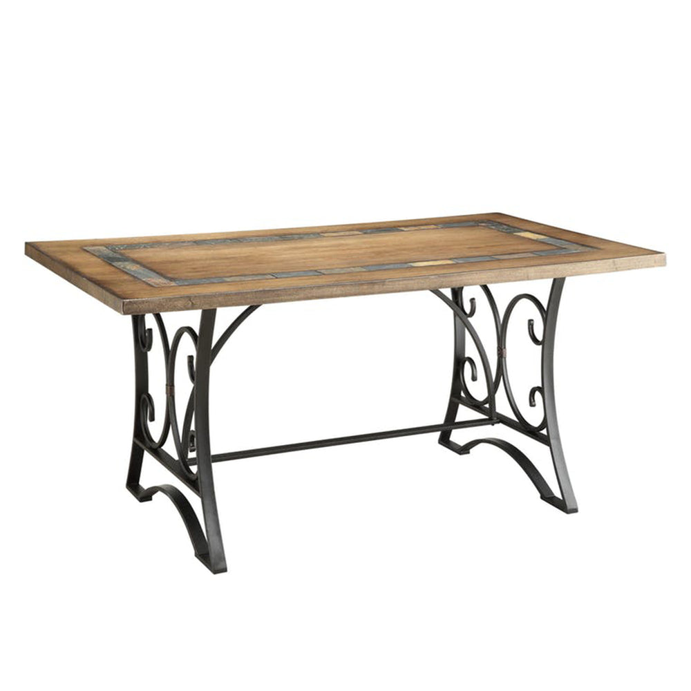 Dining Table with scrollwork stand , Oak & Antique Black
